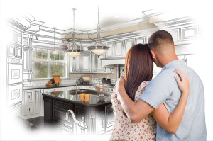 Young Military Couple Looking Inside Custom Kitchen and Design D